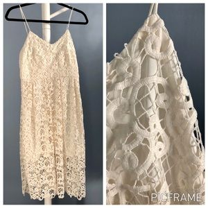 Express Ivory Floral Lace Midi Dress